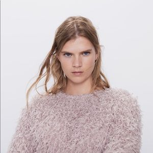 Zara Feather Effect Cropped Sweatshirt